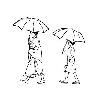 Hold the umbrella - rain and shine!